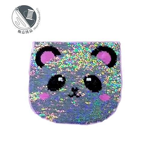 熊猫可翻转珠片布贴 多色双面变色电脑绣花章手机壳套